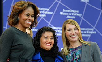 First Lady Michelle Obama, Judge Iris Yassmin Barrios Aguilar, and Deputy Secretary of State Heather Higginbottom