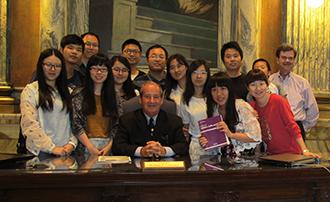 Sun Yat-sen students wth Judge Bill Lawrence