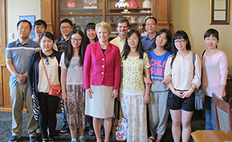 Sun Yat-sen students visiting with the lieutenant governor