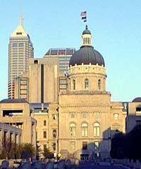 Photo of the Indiana State Capitol and downtown Indianapolis