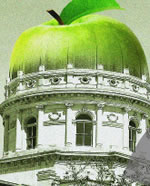 Image of a green apple replacing the top of the Indiana State House