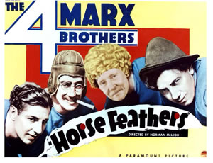 Movie poster for Horse Feathers with the 4  Marx Brothers